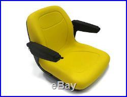 (2) Grey HIGH BACK SEATS w PIVOT ROD & ARM REST John Deere Gator CS CX Utility