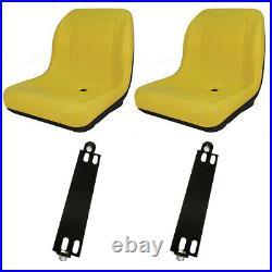 (2) Yellow HIGH BACK SEAT with Pivot Rod Bracket Fits John Deere Gator CS CX Utili