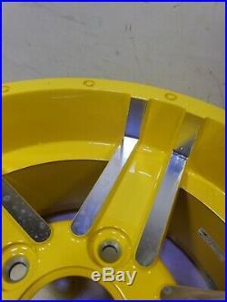John Deere RSX 825i Gator Rim 14x8 5 bolt aluminum alloy wheel Oem yellow