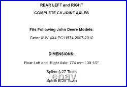 Rear Left And Right Axles for John Deere Gator Xuv 4X4 Pc11574 2007-2010