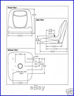 Two (2) Gray High Back Seats John Deere Gator, Snapper, Toro Twister, Club Car #kn